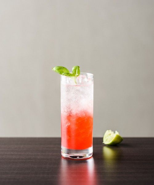 Strawberry and Basil Collins